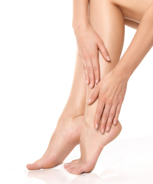 a lady's smooth legs after receiving laser hair removal