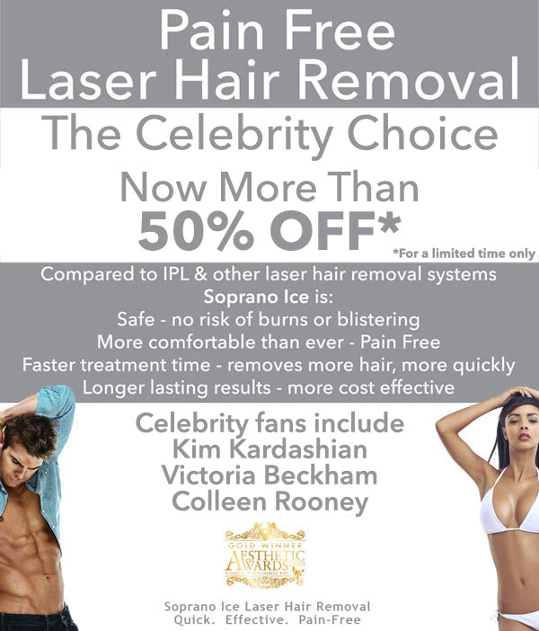 Get 50% off Pain Free Laser Hair Removal!  - Prices start at £20